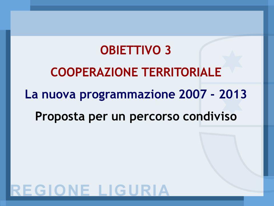 OBIETTIVO 3 COOPERAZIONE TERRITORIALE La nuova programmazione 2007 - 2013 Proposta per un percorso condiviso