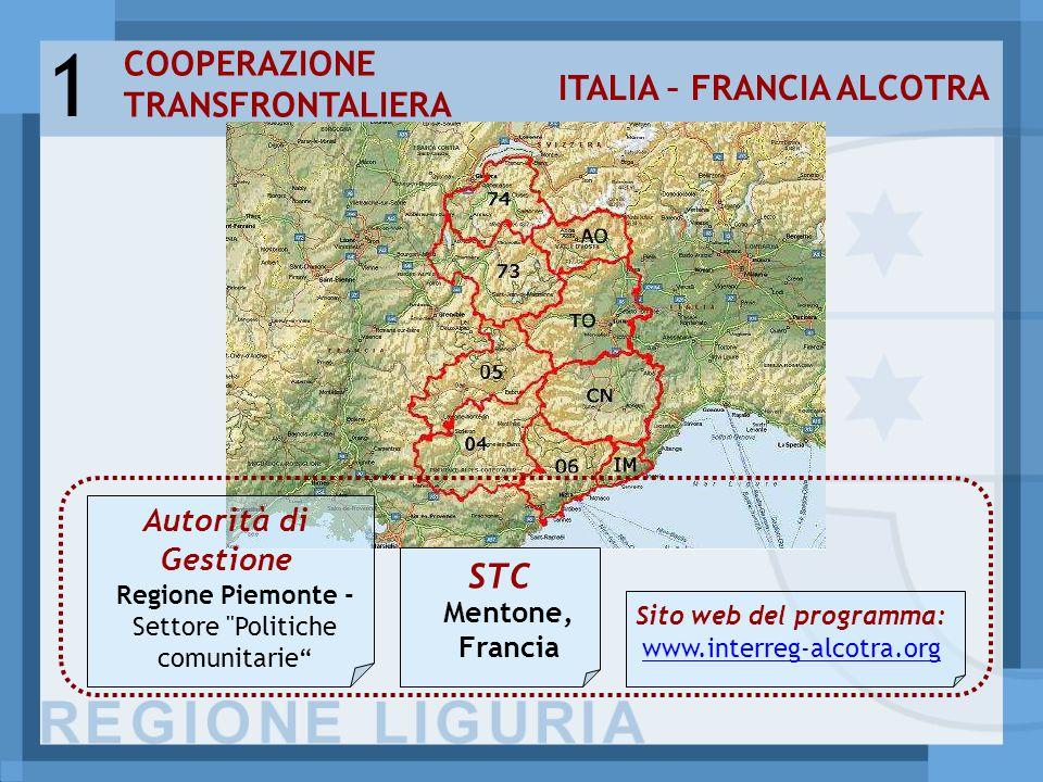 COOPERAZIONE TRANSFRONTALIERA ITALIA – FRANCIA ALCOTRA 1 Autorità di Gestione STC Sito web del programma: www.interreg-alcotra.org Mentone, Francia Regione Piemonte - Settore Politiche comunitarie