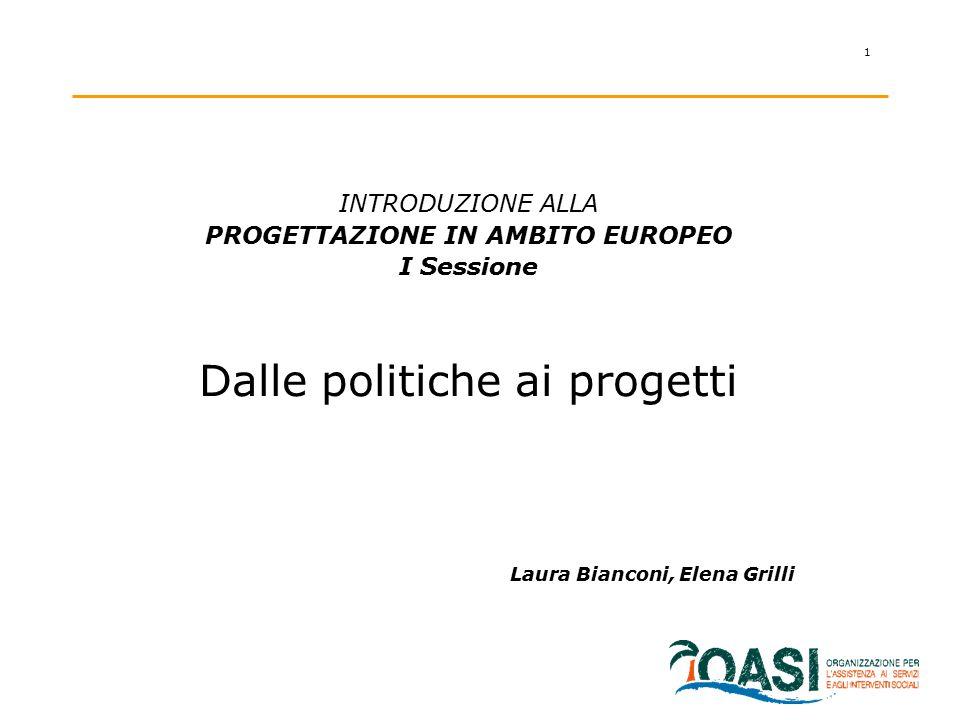 1 INTRODUZIONE ALLA PROGETTAZIONE IN AMBITO EUROPEO I Sessione Dalle politiche ai progetti Laura Bianconi, Elena Grilli