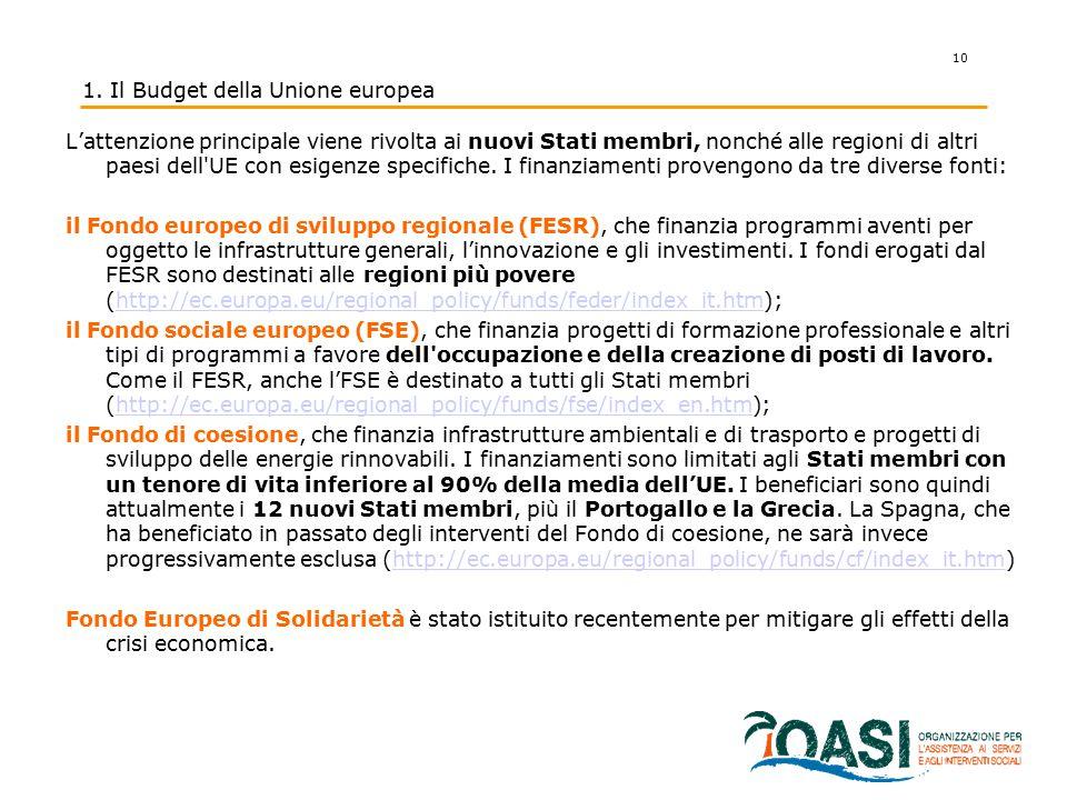 10 1. Il Budget della Unione europea L'attenzione principale viene rivolta ai nuovi Stati membri, nonché alle regioni di altri paesi dell'UE con esige