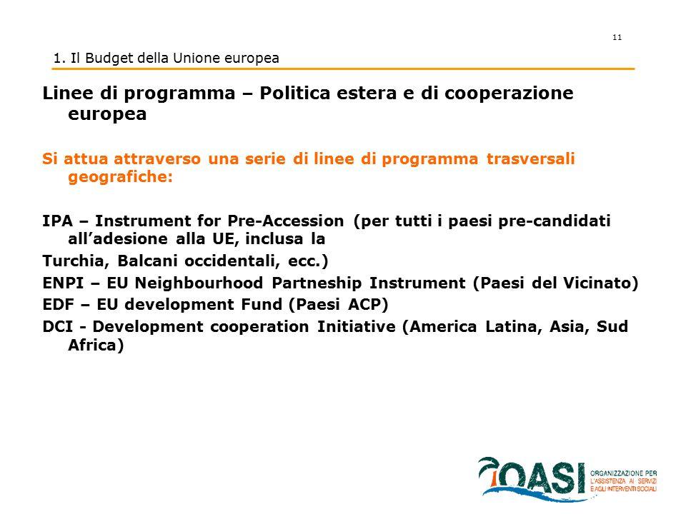 11 1. Il Budget della Unione europea Linee di programma – Politica estera e di cooperazione europea Si attua attraverso una serie di linee di programm
