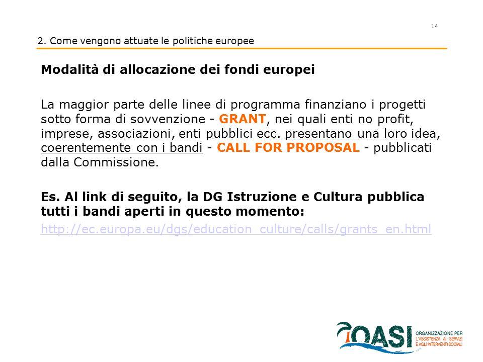 14 2. Come vengono attuate le politiche europee Modalità di allocazione dei fondi europei La maggior parte delle linee di programma finanziano i proge