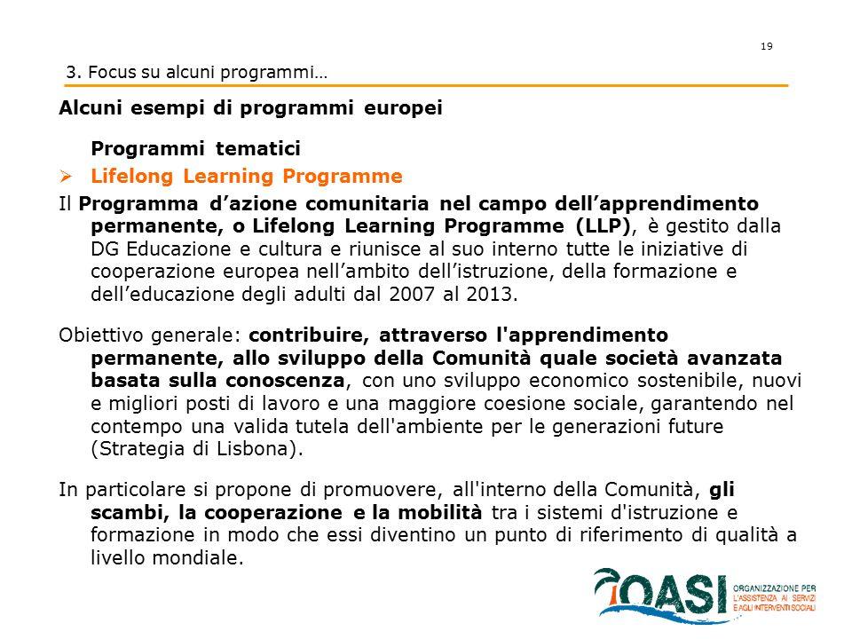 19 3. Focus su alcuni programmi… Alcuni esempi di programmi europei Programmi tematici  Lifelong Learning Programme Il Programma d'azione comunitaria