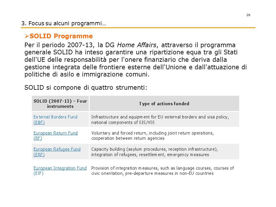 .  SOLID Programme Per il periodo 2007-13, la DG Home Affairs, attraverso il programma generale SOLID ha inteso garantire una ripartizione equa tra g