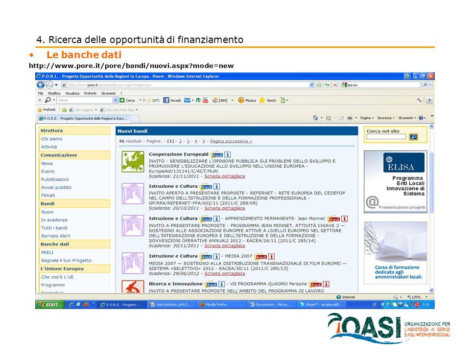 Le banche dati http://www.pore.it/pore/bandi/nuovi.aspx?mode=new 4. Ricerca delle opportunità di finanziamento