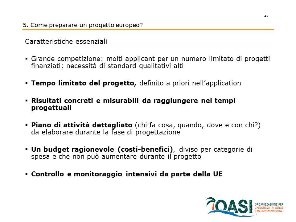 42 Caratteristiche essenziali  Grande competizione: molti applicant per un numero limitato di progetti finanziati; necessità di standard qualitativi
