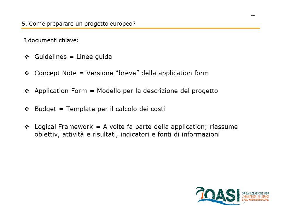 """44 I documenti chiave:  Guidelines = Linee guida  Concept Note = Versione """"breve"""" della application form  Application Form = Modello per la descriz"""
