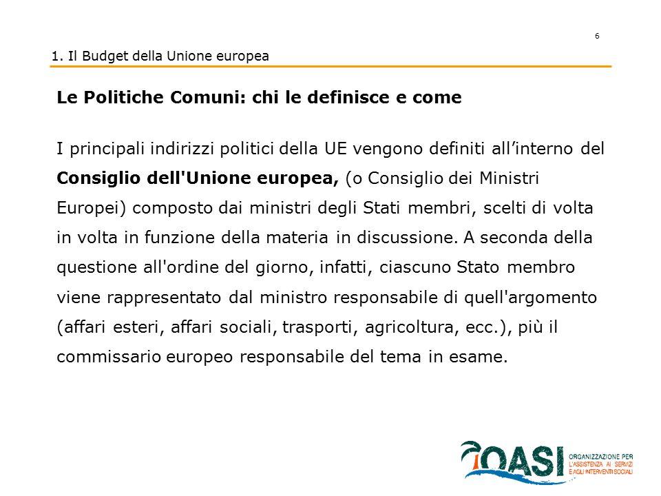 6 1. Il Budget della Unione europea Le Politiche Comuni: chi le definisce e come I principali indirizzi politici della UE vengono definiti all'interno