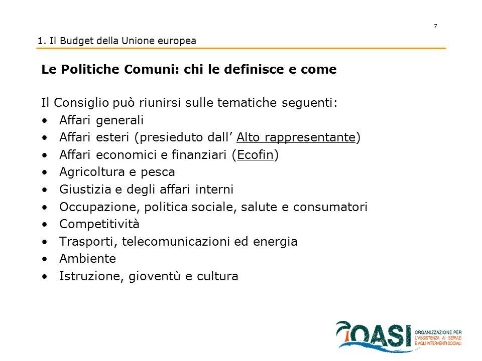 7 1. Il Budget della Unione europea Le Politiche Comuni: chi le definisce e come Il Consiglio può riunirsi sulle tematiche seguenti: Affari generali A