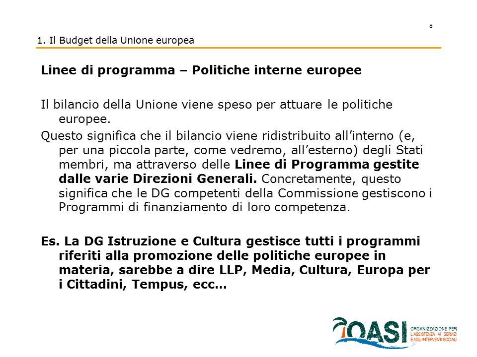 8 1. Il Budget della Unione europea Linee di programma – Politiche interne europee Il bilancio della Unione viene speso per attuare le politiche europ