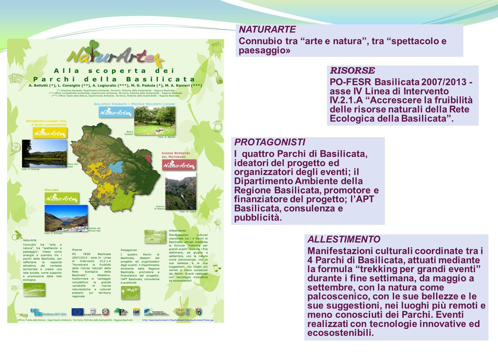 """NATURARTE Connubio tra """"arte e natura"""", tra """"spettacolo e paesaggio» RISORSE PO-FESR Basilicata 2007/2013 - asse IV Linea di Intervento IV.2.1.A """"Accr"""