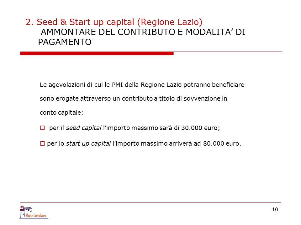 2. Seed & Start up capital (Regione Lazio) AMMONTARE DEL CONTRIBUTO E MODALITA' DI PAGAMENTO Le agevolazioni di cui le PMI della Regione Lazio potrann