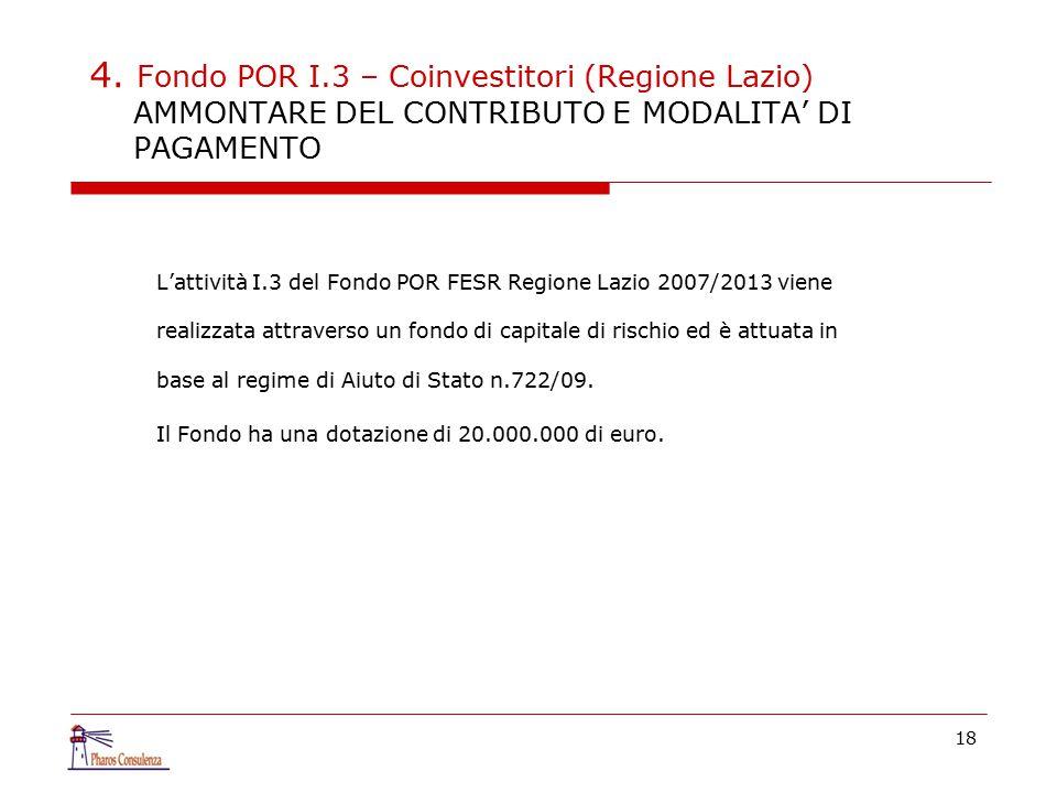 4. Fondo POR I.3 – Coinvestitori (Regione Lazio) AMMONTARE DEL CONTRIBUTO E MODALITA' DI PAGAMENTO L'attività I.3 del Fondo POR FESR Regione Lazio 200