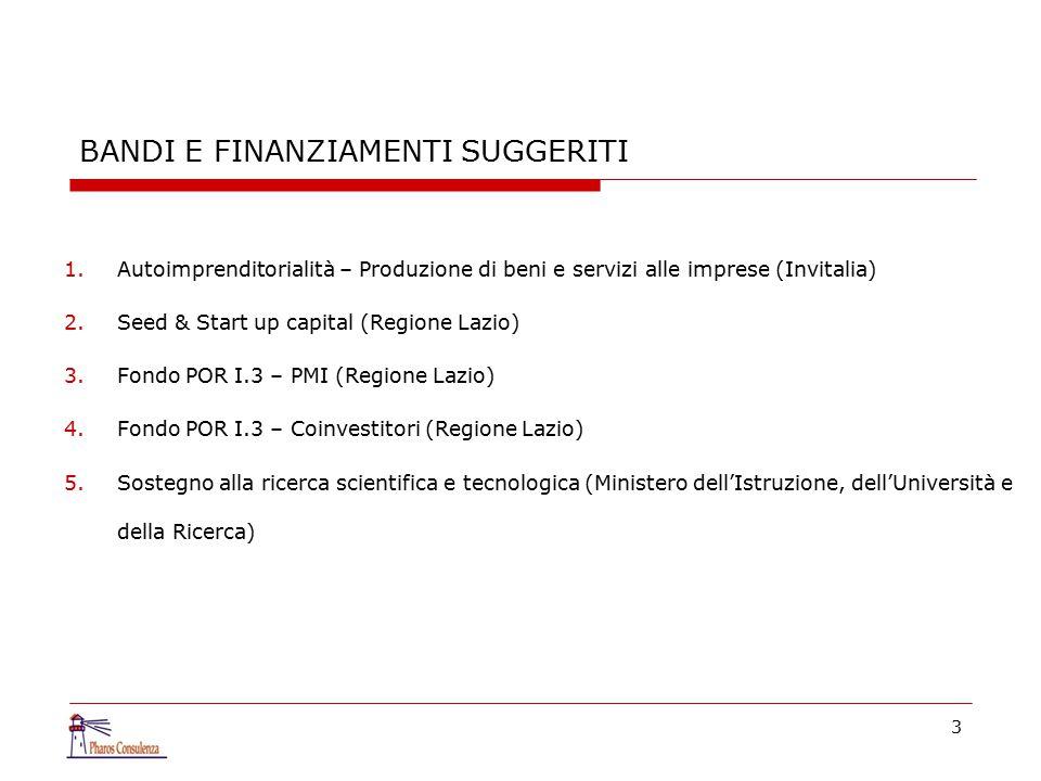 4 1.Autoimprenditorialità – Produzione di beni e servizi alle imprese (Invitalia) CARATTERISTICHE DEL BANDO Attraverso l'autoimprenditorialità ed in base al D.