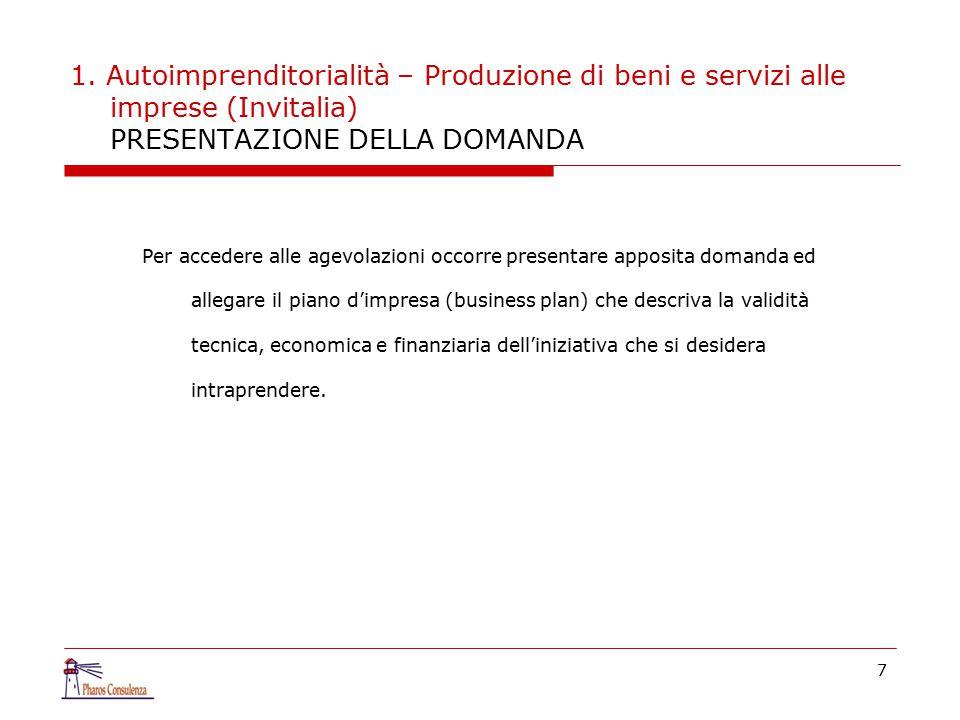 1. Autoimprenditorialità – Produzione di beni e servizi alle imprese (Invitalia) PRESENTAZIONE DELLA DOMANDA Per accedere alle agevolazioni occorre pr