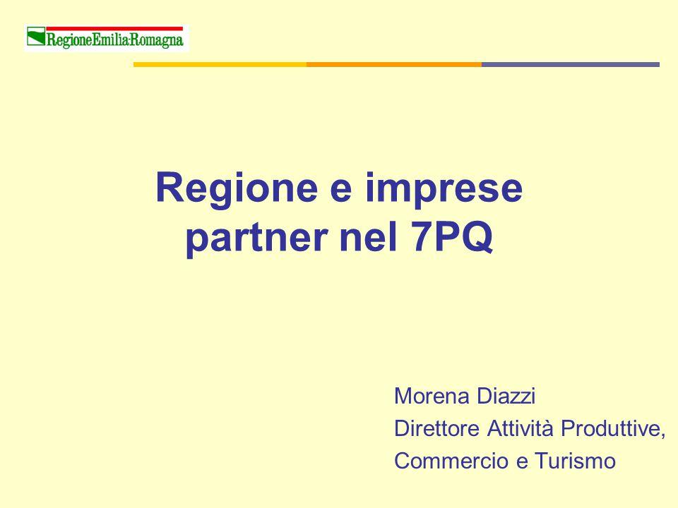 Regione e imprese partner nel 7PQ Morena Diazzi Direttore Attività Produttive, Commercio e Turismo