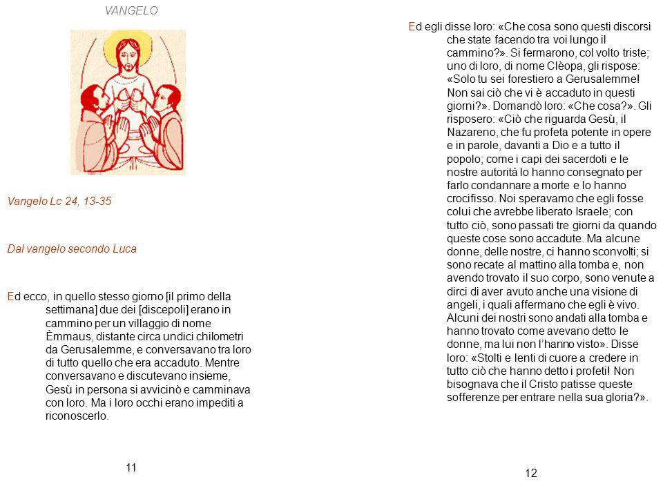 12 11 VANGELO Vangelo Lc 24, 13-35 Dal vangelo secondo Luca Ed ecco, in quello stesso giorno [il primo della settimana] due dei [discepoli] erano in c