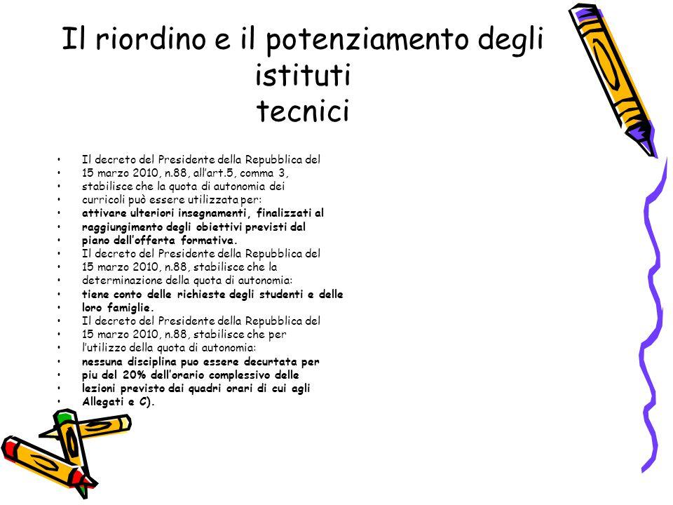 Il riordino e il potenziamento degli istituti tecnici Il decreto del Presidente della Repubblica del 15 marzo 2010, n.88, all'art.5, comma 3, stabilis