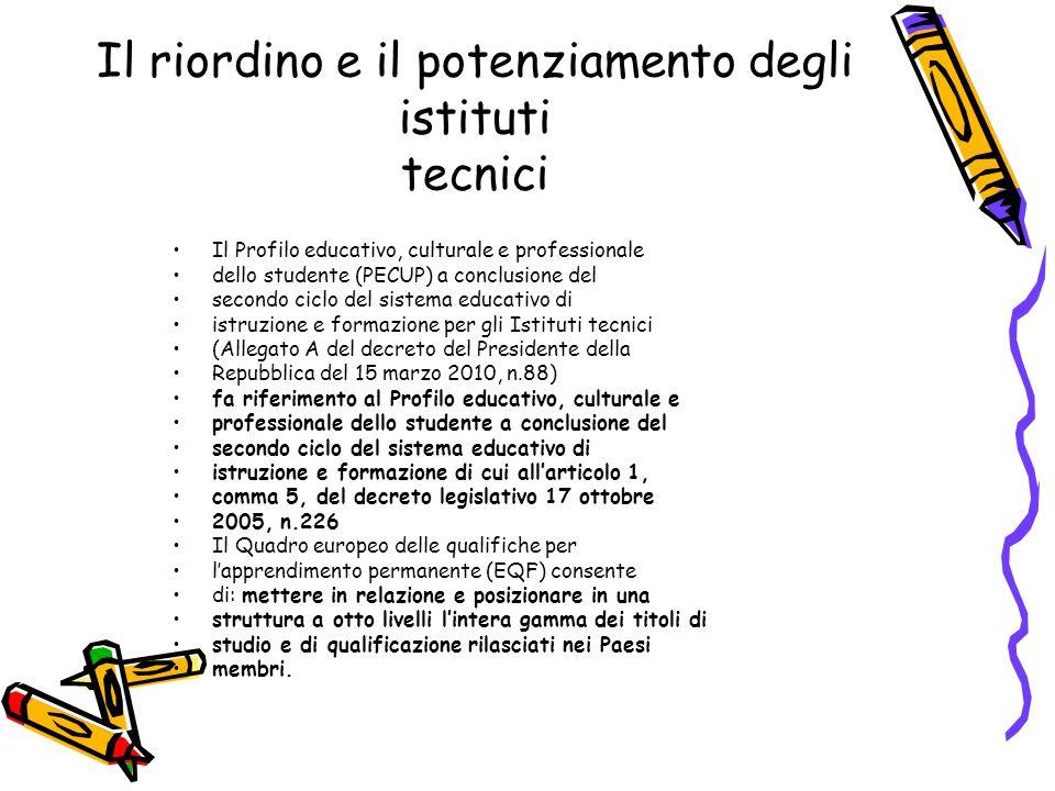 Il riordino e il potenziamento degli istituti tecnici Il Profilo educativo, culturale e professionale dello studente (PECUP) a conclusione del secondo