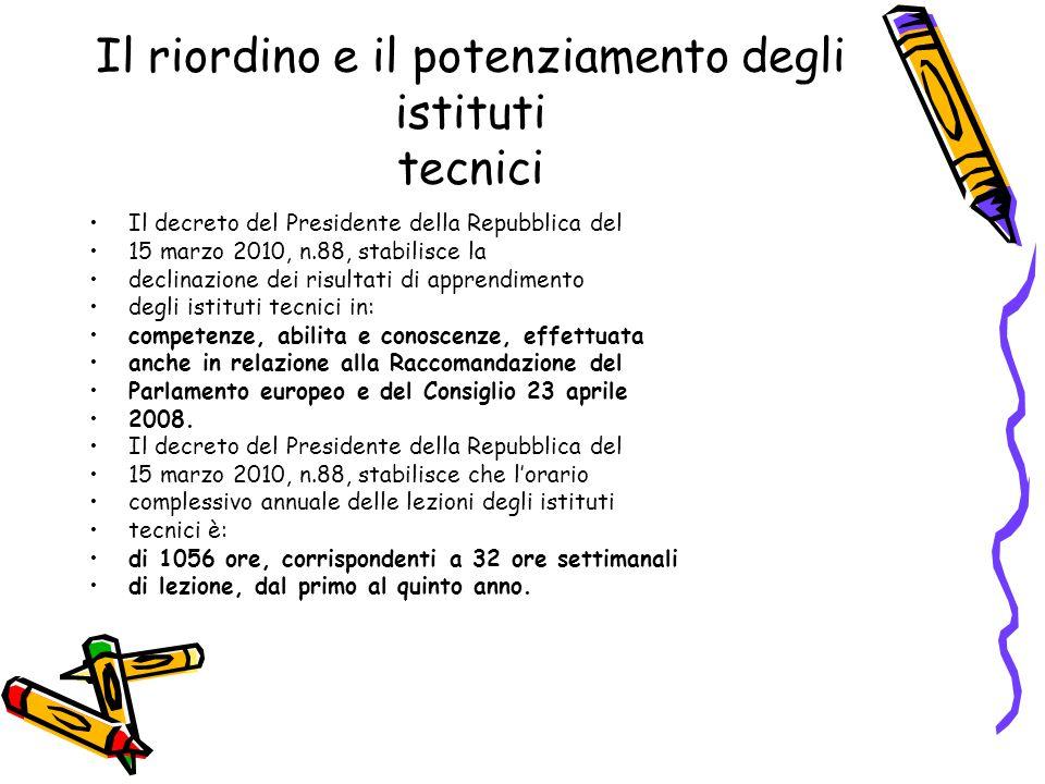 Il riordino e il potenziamento degli istituti tecnici Il decreto del Presidente della Repubblica del 15 marzo 2010, n.88, stabilisce la declinazione d