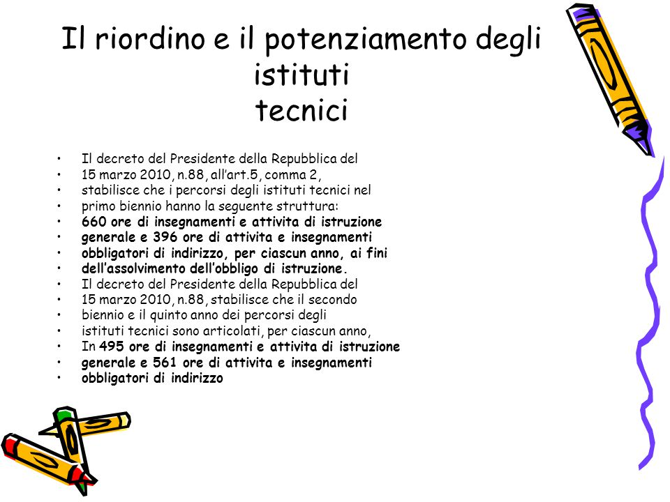 Il riordino e il potenziamento degli istituti tecnici Il decreto del Presidente della Repubblica 15 marzo 20101, n.88 stabilisce, per i percorsi del settore tecnologico, le seguenti ore di compresenza in laboratorio: 264 nel primo biennio, 561 nel secondo biennio e 330 nel quinto anno Il decreto del Presidente della Repubblica 15 marzo 20101, n.88 prevede l insegnamento, in lingua inglese, di una disciplina: non linguistica compresa nell area di indirizzo del quinto anno.