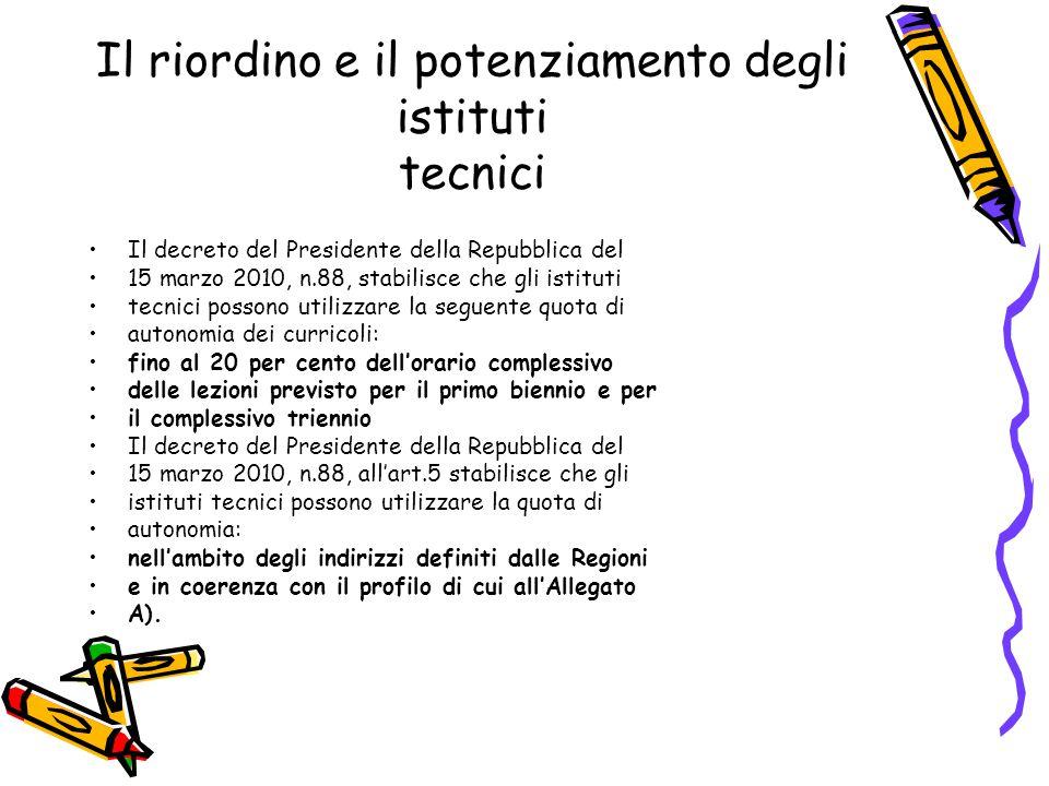 Il riordino e il potenziamento degli istituti tecnici Il decreto del Presidente della Repubblica del 15 marzo 2010, n.88, stabilisce che gli istituti