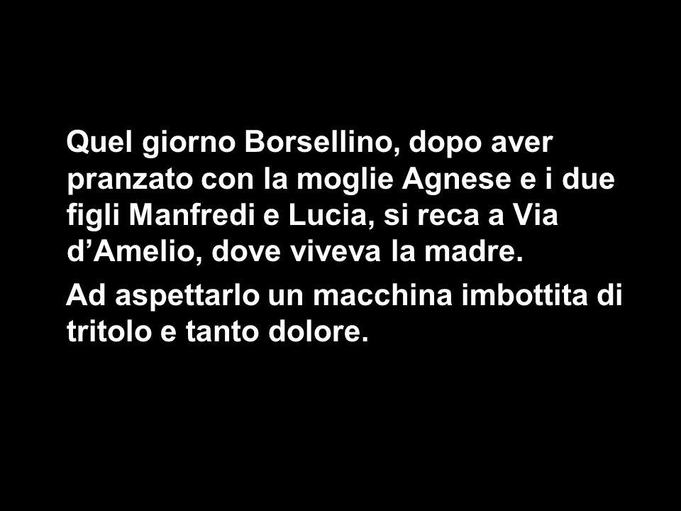 Quel giorno Borsellino, dopo aver pranzato con la moglie Agnese e i due figli Manfredi e Lucia, si reca a Via d'Amelio, dove viveva la madre. Ad aspet