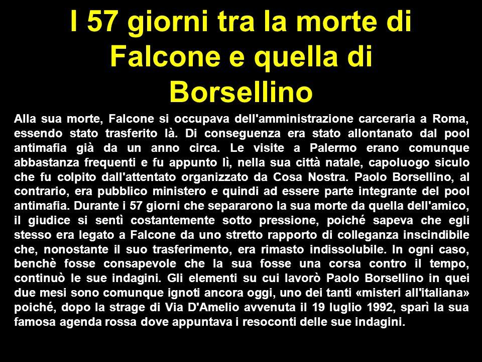 I 57 giorni tra la morte di Falcone e quella di Borsellino Alla sua morte, Falcone si occupava dell'amministrazione carceraria  a Roma, essendo stato