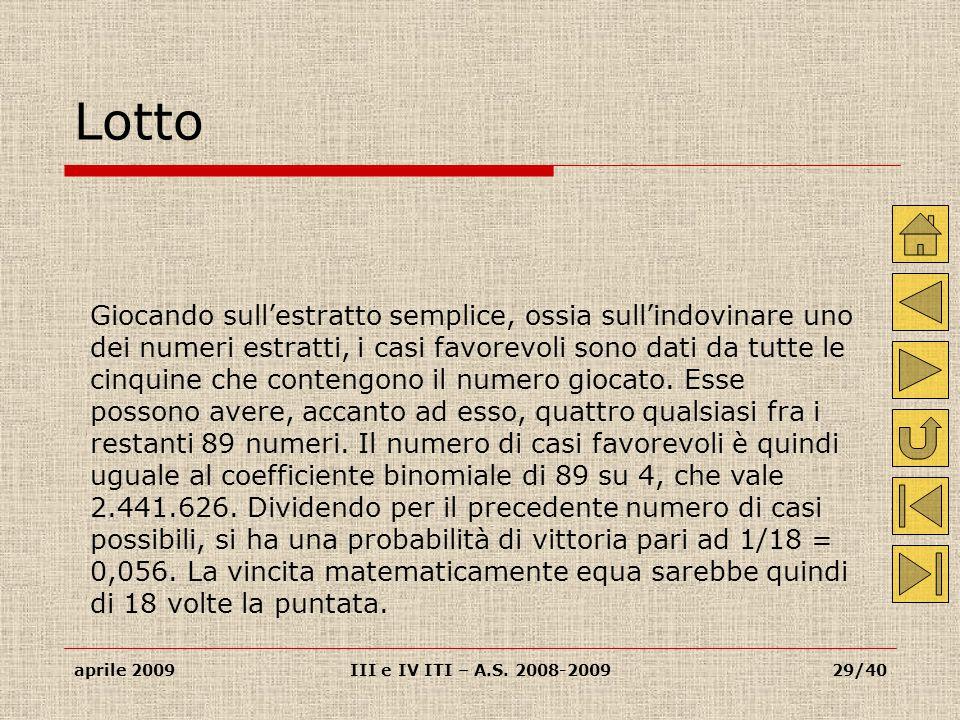 aprile 2009III e IV ITI – A.S.