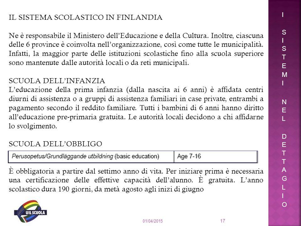01/04/2015 17 IL SISTEMA SCOLASTICO IN FINLANDIA Ne è responsabile il Ministero dell'Educazione e della Cultura. Inoltre, ciascuna delle 6 province è