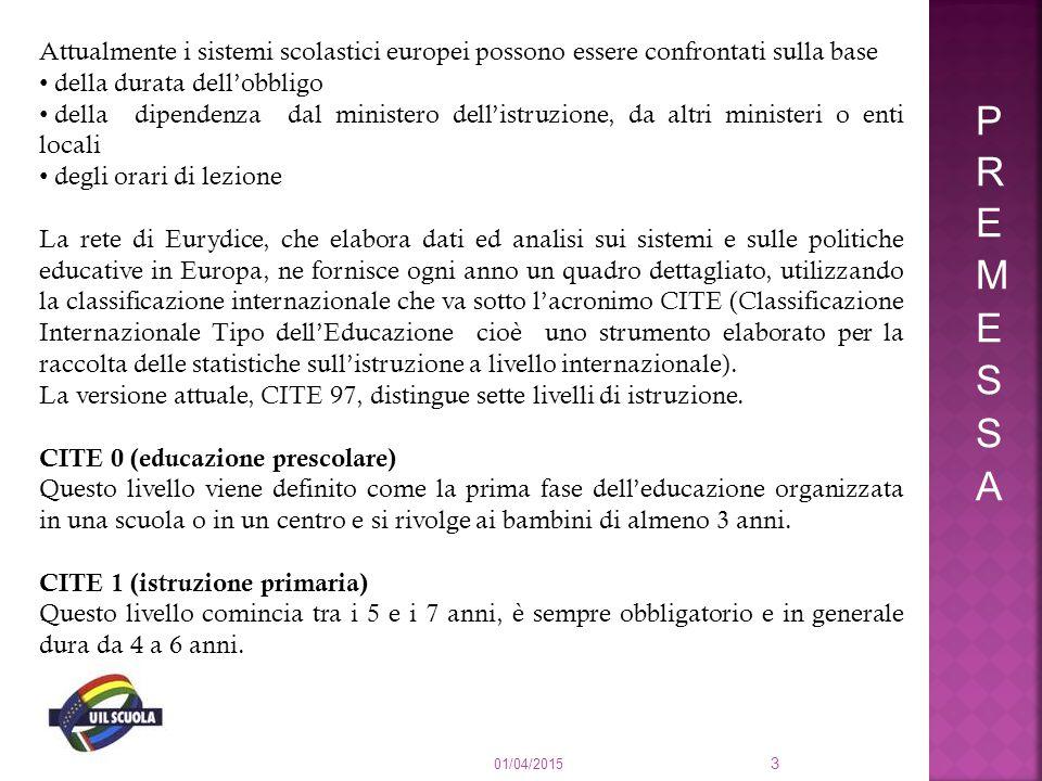 Attualmente i sistemi scolastici europei possono essere confrontati sulla base della durata dell'obbligo della dipendenza dal ministero dell'istruzion
