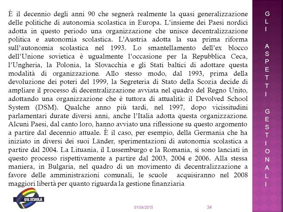 01/04/2015 34 È il decennio degli anni 90 che segnerà realmente la quasi generalizzazione delle politiche di autonomia scolastica in Europa. L'insieme