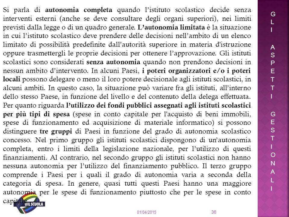 01/04/2015 36 Si parla di autonomia completa quando l'istituto scolastico decide senza interventi esterni (anche se deve consultare degli organi super