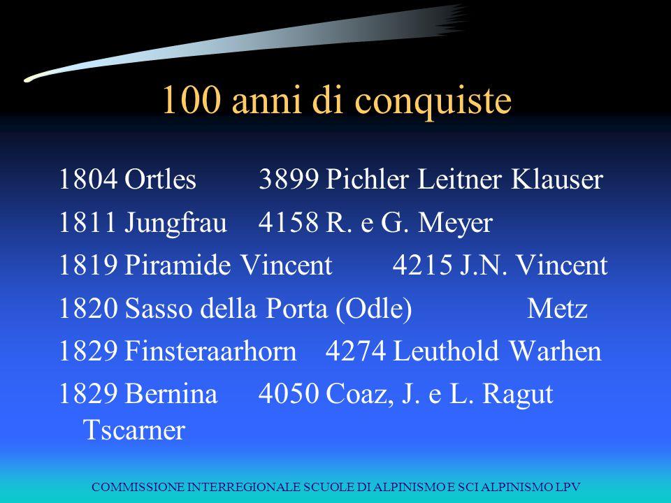 COMMISSIONE INTERREGIONALE SCUOLE DI ALPINISMO E SCI ALPINISMO LPV 100 anni di conquiste 1804Ortles3899Pichler Leitner Klauser 1811Jungfrau4158R. e G.