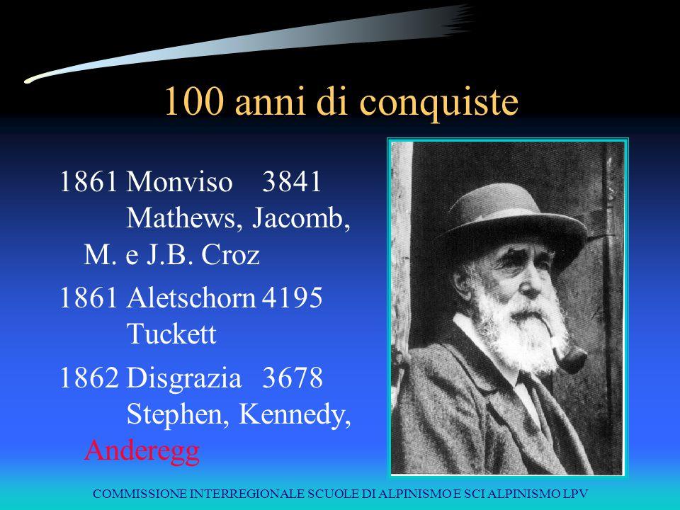 COMMISSIONE INTERREGIONALE SCUOLE DI ALPINISMO E SCI ALPINISMO LPV 100 anni di conquiste 1861Monviso3841 Mathews, Jacomb, M. e J.B. Croz 1861Aletschor