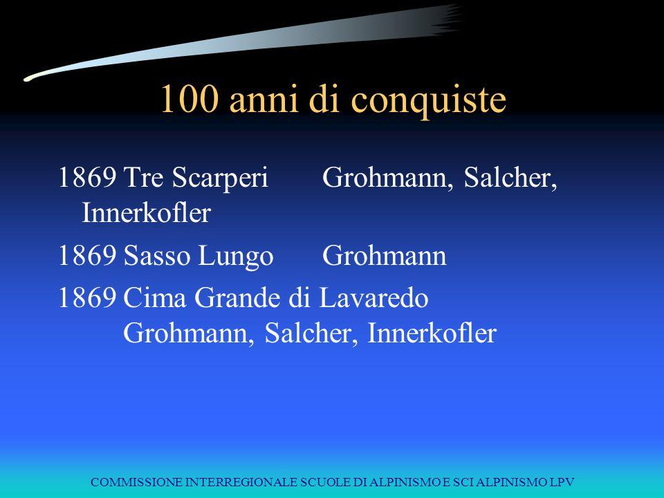 COMMISSIONE INTERREGIONALE SCUOLE DI ALPINISMO E SCI ALPINISMO LPV 100 anni di conquiste 1869Tre ScarperiGrohmann, Salcher, Innerkofler 1869Sasso Lung
