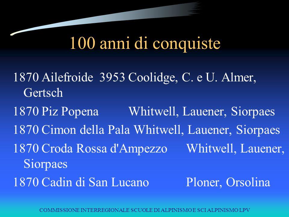 COMMISSIONE INTERREGIONALE SCUOLE DI ALPINISMO E SCI ALPINISMO LPV 100 anni di conquiste 1870Ailefroide3953Coolidge, C. e U. Almer, Gertsch 1870Piz Po
