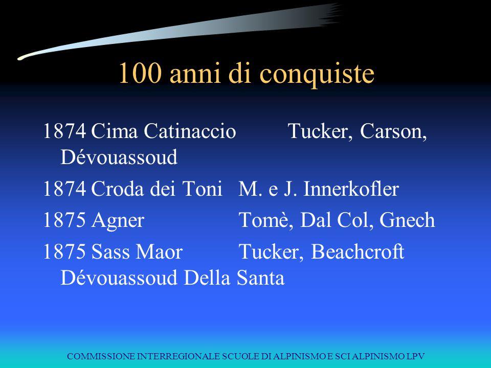 COMMISSIONE INTERREGIONALE SCUOLE DI ALPINISMO E SCI ALPINISMO LPV 100 anni di conquiste 1874Cima CatinaccioTucker, Carson, Dévouassoud 1874Croda dei