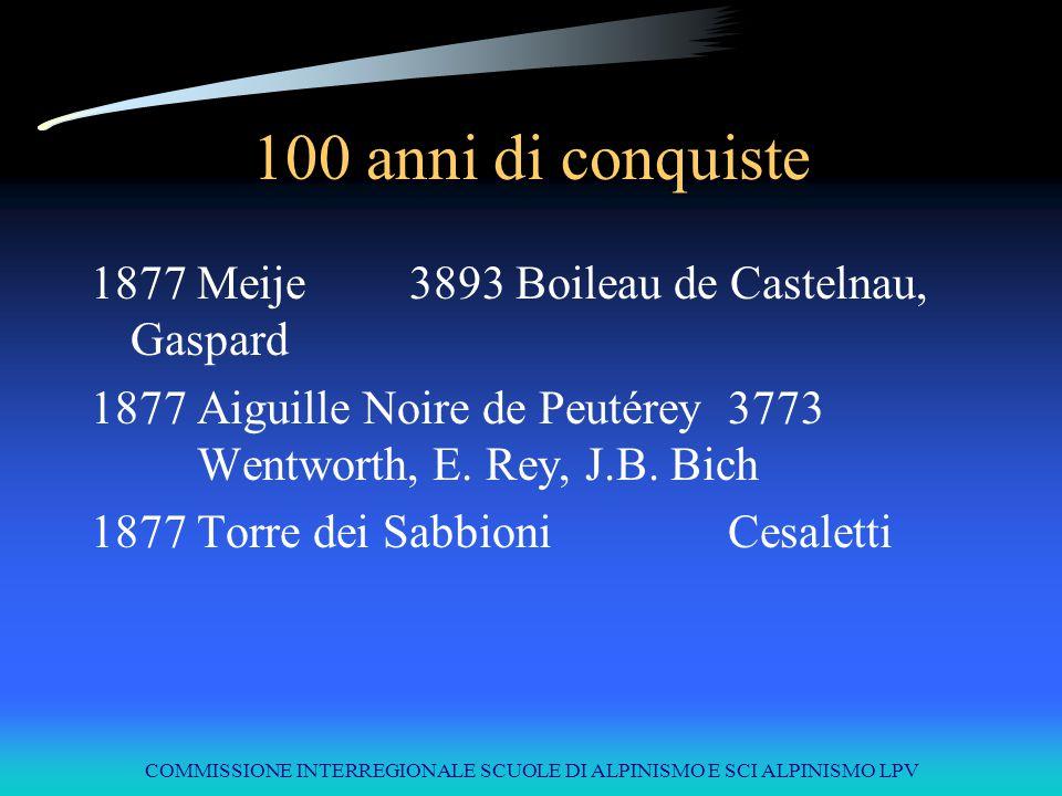 COMMISSIONE INTERREGIONALE SCUOLE DI ALPINISMO E SCI ALPINISMO LPV 100 anni di conquiste 1877Meije3893Boileau de Castelnau, Gaspard 1877Aiguille Noire