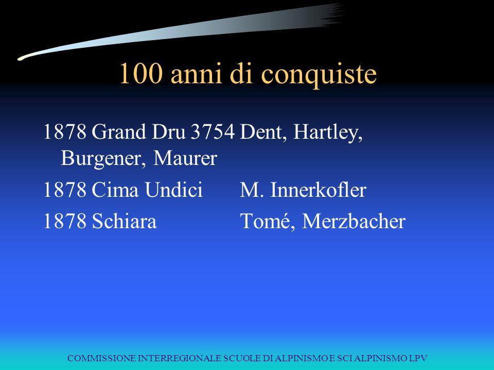 COMMISSIONE INTERREGIONALE SCUOLE DI ALPINISMO E SCI ALPINISMO LPV 100 anni di conquiste 1878Grand Dru3754Dent, Hartley, Burgener, Maurer 1878Cima Und