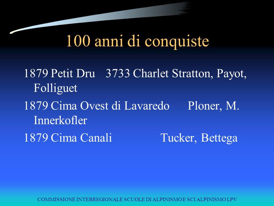 COMMISSIONE INTERREGIONALE SCUOLE DI ALPINISMO E SCI ALPINISMO LPV 100 anni di conquiste 1879Petit Dru3733Charlet Stratton, Payot, Folliguet 1879Cima