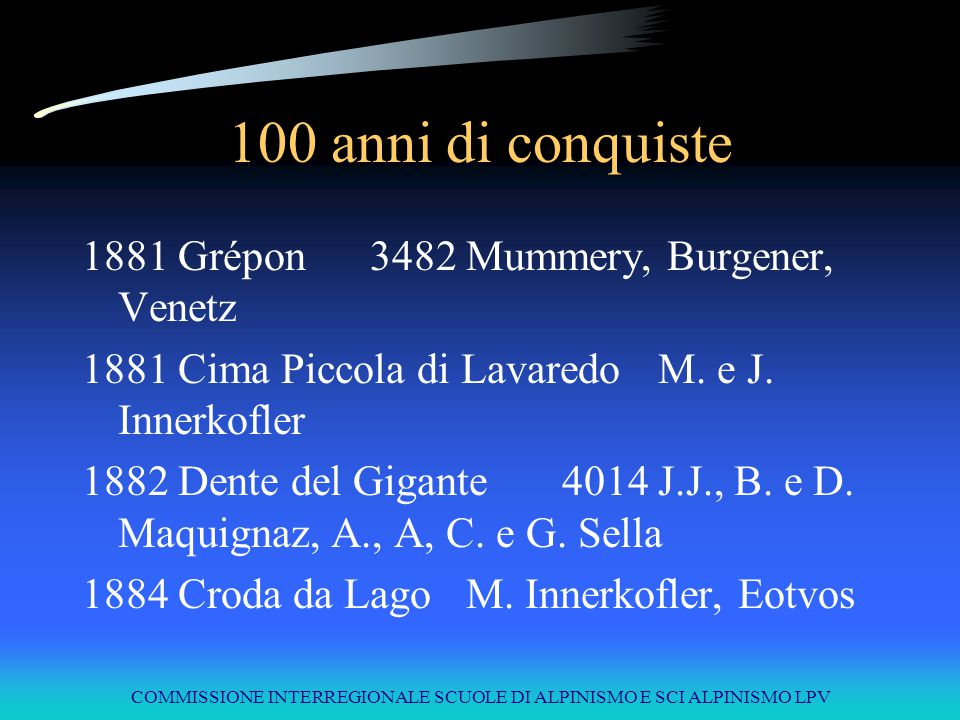COMMISSIONE INTERREGIONALE SCUOLE DI ALPINISMO E SCI ALPINISMO LPV 100 anni di conquiste 1881Grépon3482Mummery, Burgener, Venetz 1881Cima Piccola di L