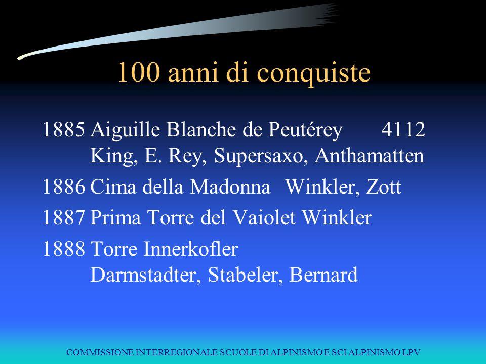 COMMISSIONE INTERREGIONALE SCUOLE DI ALPINISMO E SCI ALPINISMO LPV 100 anni di conquiste 1885Aiguille Blanche de Peutérey4112 King, E. Rey, Supersaxo,
