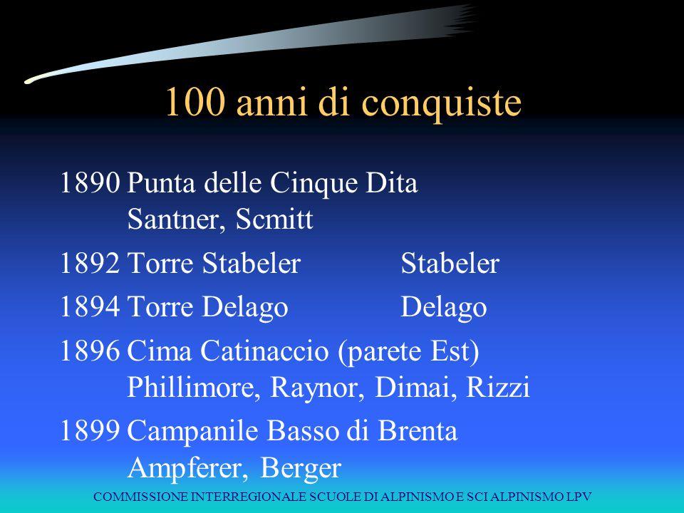 COMMISSIONE INTERREGIONALE SCUOLE DI ALPINISMO E SCI ALPINISMO LPV 100 anni di conquiste 1890Punta delle Cinque Dita Santner, Scmitt 1892Torre Stabele