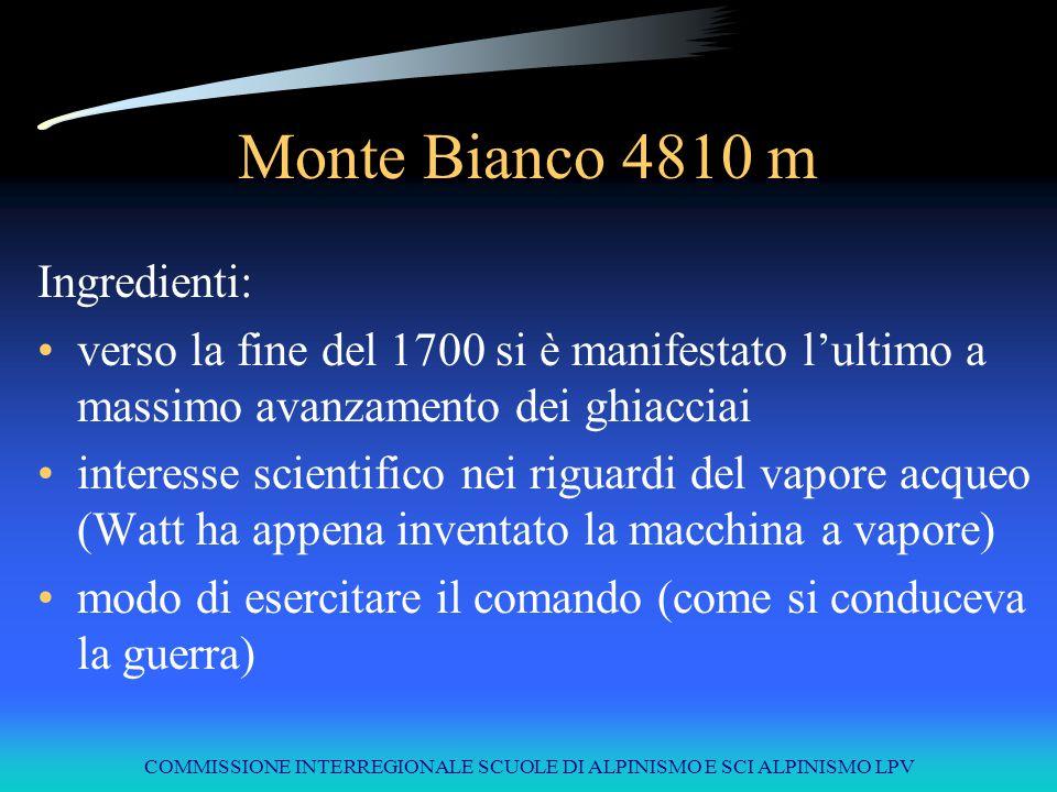 COMMISSIONE INTERREGIONALE SCUOLE DI ALPINISMO E SCI ALPINISMO LPV Monte Bianco 4810 m 1760 parte la sfida: Horace Bénédict de Saussure promette un premio a chi troverà una via di salita per la vetta del Monte Bianco.
