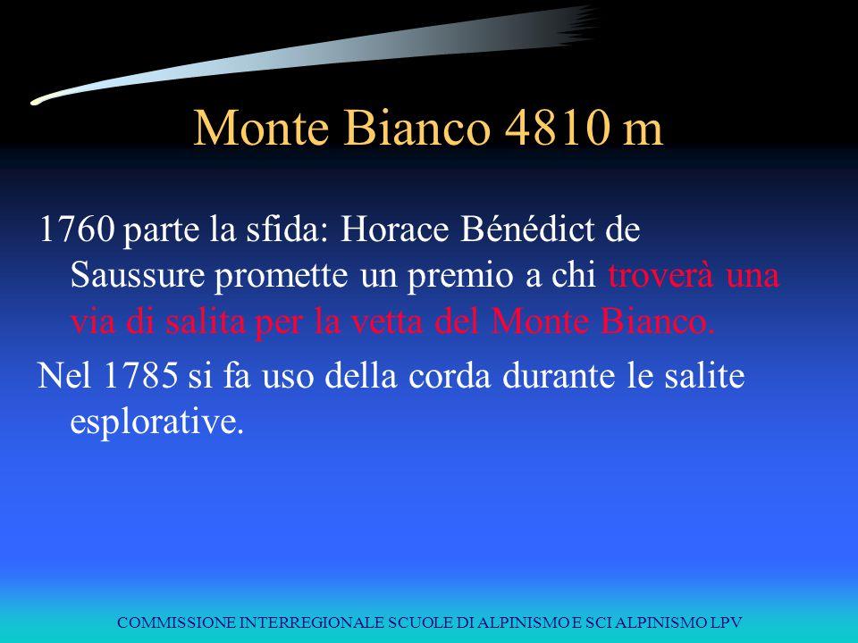 COMMISSIONE INTERREGIONALE SCUOLE DI ALPINISMO E SCI ALPINISMO LPV Monte Bianco 4810 m 1760 parte la sfida: Horace Bénédict de Saussure promette un pr