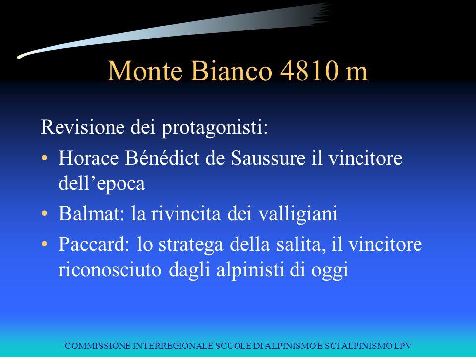 COMMISSIONE INTERREGIONALE SCUOLE DI ALPINISMO E SCI ALPINISMO LPV 100 anni di conquiste 1786Monte Bianco4810Balmat Paccard Le ripetizioni del Monte Bianco 1788Dents du Midi3257Clément 1800Grossglockner3797Altgraf