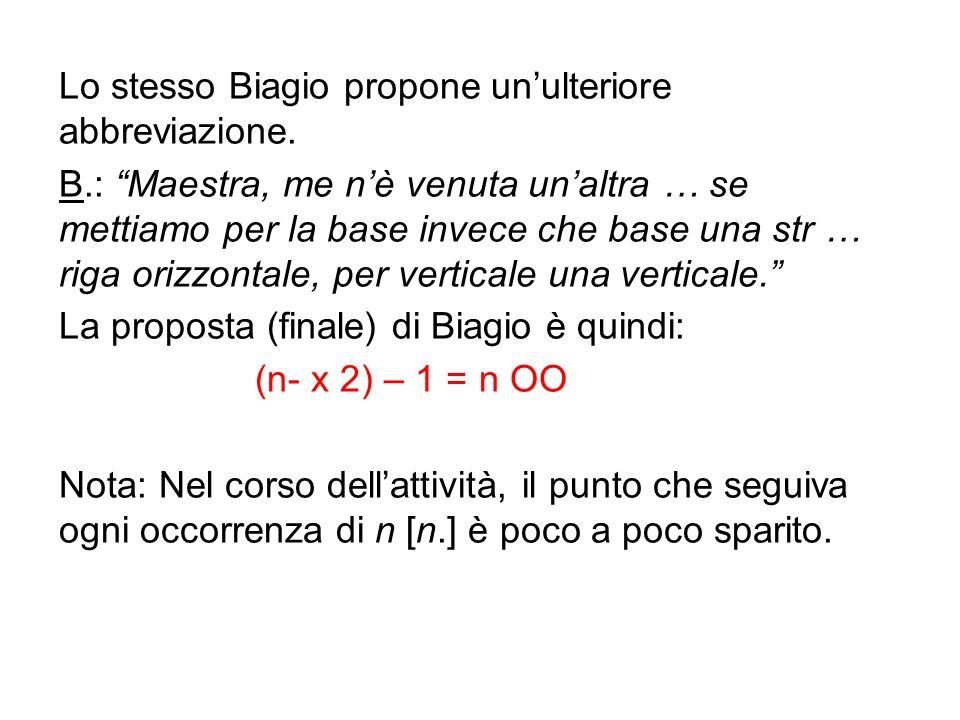 """Lo stesso Biagio propone un'ulteriore abbreviazione. B.: """"Maestra, me n'è venuta un'altra … se mettiamo per la base invece che base una str … riga ori"""