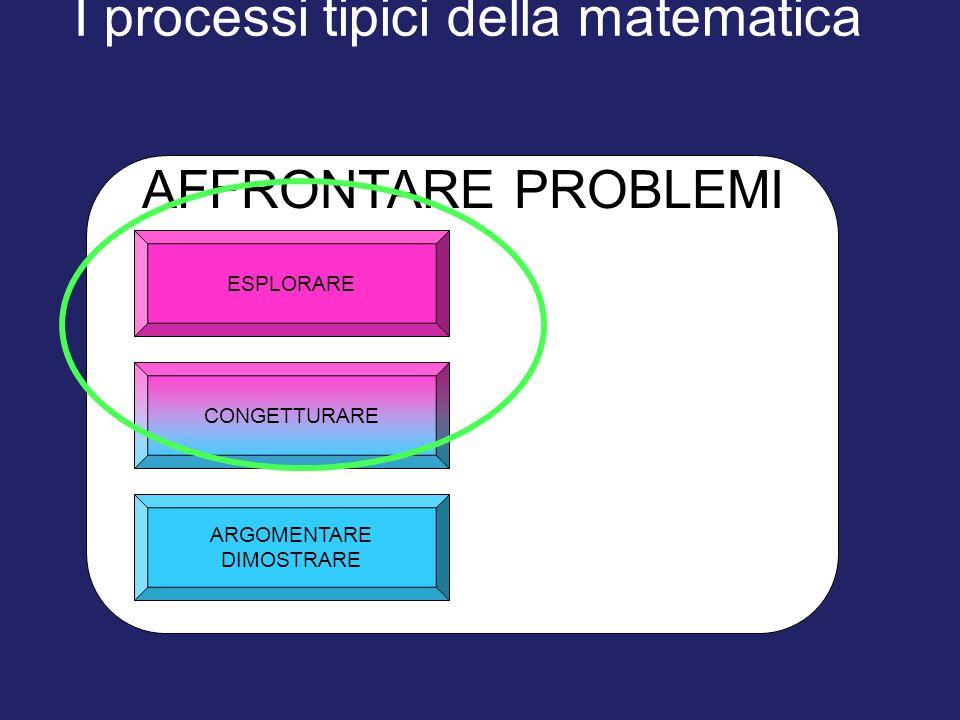 I processi tipici della matematica ESPLORARE ARGOMENTARE DIMOSTRARE CONGETTURARE AFFRONTARE PROBLEMI