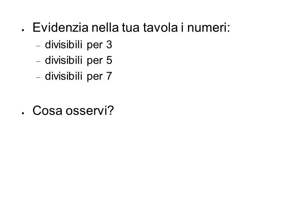  Evidenzia nella tua tavola i numeri:  divisibili per 3  divisibili per 5  divisibili per 7  Cosa osservi?